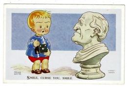 "Ref 1323 - Brian White Nipper Humour Comic Postcard - ""Smile Curse You Smile"" Boy & Camera With Statue - Humour"