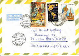 Brazil Air Mail Cover Sent To Denmark Aaro Reis 9-11-1988 Topic Stamps Including MAP - Airmail