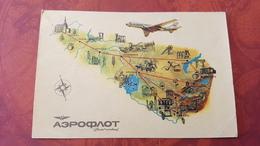 USSR Avia Routes / Moscow - Tashkent , Moscow - Dushanbe AEROFLOT ADVERTISING - 1946-....: Modern Tijdperk