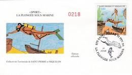 FDC PREMIER JOUR  Saint-Pierre Et Miquelon 1993 574 Sport Plongée Sous-marine - FDC
