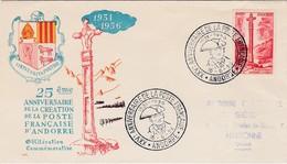 FDC PREMIER JOUR  Andorre 1956 146 Anniversaire Poste Française - FDC