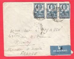 NIGERIA To FRANCE Enveloppe Affranchie KGV 3x3d Par Avion Lagos 4 Feb. 1937 - Nigeria (...-1960)