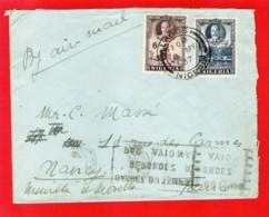 NIGERIA To FRANCE Enveloppe Affranchie KGV 9d 6+3 Par Avion Lagos 9 May 1937 - Nigeria (...-1960)