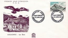 FDC PREMIER JOUR  Andorre 1964 PA8 Vallée D'Incles - FDC