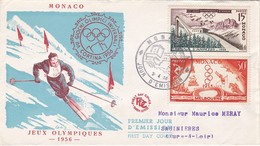 FDC PREMIER JOUR  Monaco 1956 442 443 Jeux Olympiques - FDC
