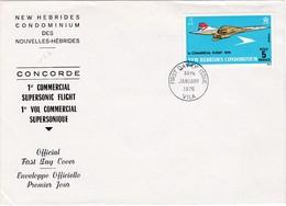FDC PREMIER JOUR  Nouvelles New Hébrides 1976 Concorde - FDC