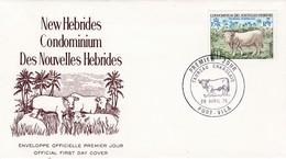 FDC PREMIER JOUR  Nouvelles New Hébrides 1975 Taureau Charolais - FDC