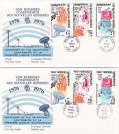 FDC PREMIER JOUR  Nouvelles New Hébrides 2 FDC 1976 Centenaire Liaison Téléphonique - FDC