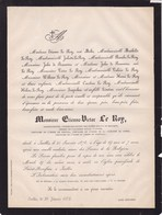 IXELLES Peintre Etienne-Victor LE ROY  68 Ans 1878 Académie Royale D'Anvers Expert Musées Royaux De Belgique - Décès