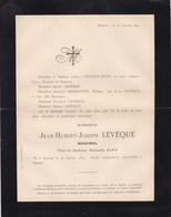 HERSTAL SERAING Industriel Jean-Hubert LEVEQUE Veuf KING 1833-1897 Famille FRANCOTTE - Décès