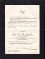 VICHY Ambassadeur De Belgique Pol LE TELLIER Louvain 1879 - Vichy 1941 Faire-part Mortuaire - Décès