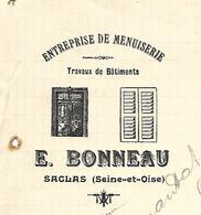 Lettre 1914 / 91 SACLAS / E. BONNEAU / Entreprise De Menuiserie - France