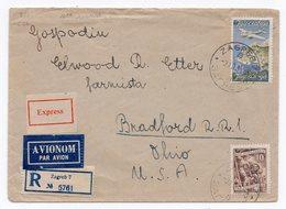 1931 YUGOSLAVIA, CROATIA, ZAGREB TO BRADFORD, OHIO, USA,30 DINAR, REGISTERED LETTER, EXPRESS, AIR MAIL - 1931-1941 Kingdom Of Yugoslavia