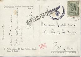 3340/ Italia Rodi Island 1941 CP Censored (Italian & German) > Brussels Belgium - Occupation 2ème Guerre Mond. (Italie)