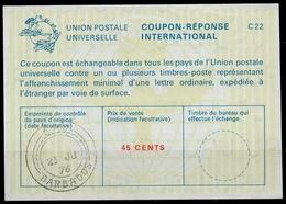 BARBADOS La22A 45 CENTSInternational Reply Coupon Reponse Antwortschein IAS IRC O G.P.O. 23.06.76 - Barbados (1966-...)