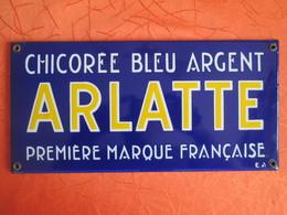 Plaque Emaillee Ancienne Chicoree Arlatte . Emaillerie Alsacienne De Strasbourg - Merken
