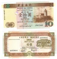 Macau, 10 Patacas X 2 Dif. Notes,  UNC. - Macau