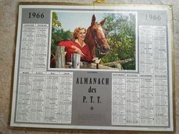 1966 - ALMANACH DES P.T.T OBERTHUR -  LA SEINE - 1966 - SOUVENIR - FEMME ET CHEVAL - Calendriers