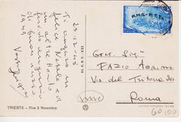 Trieste A, Cartolina Illustrata Affrancata Con Sassone 27 Risorgimento, (0528205282) - Storia Postale