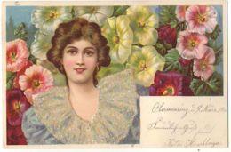 N°13123 - Carte Avec Paillettes - Jeune Femme Parmi Des Fleurs - Women