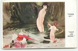 N°13147 - Hauts Les Mains ! Cupidon Et Femme Nue - Other
