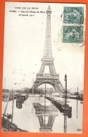 PO-23 Inondations De Paris, Crue De La Seine, Gare Du Champ-de-Mars 18.1.1910, Tour Eiffel Et Reflets Dans L'eau. Circul - Inondations De 1910