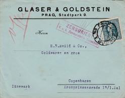 1917 Censored Cover Prague To Copenhagen 25h Stamp SG254 Prague CDS + Copenhagen B/s - Other