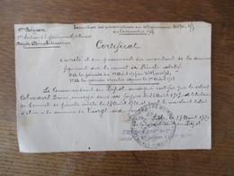 1ère REGION 1ère SECTION D'INFIRMIERS MILITAIRES DEPOT MOBILISATEUR CERTIFICAT LILLE LE 27 AOÛT 1920 LE COMMANDANT DU DE - Documents