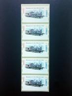 ESPAÑA.AÑO 2001./ LOCOMOTORA NORTE 1405 /Tira De 5 Etiquetas Postales Nuevas Y Limpias (Atms ). - Marcofilia - EMA ( Maquina De Huellas A Franquear)