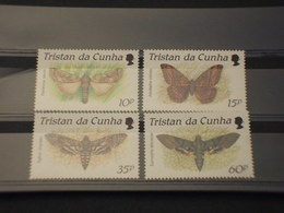 TRISTAN DA CUNHA -  1990 FARFALLE 4 VALORI - NUOVI(++) - Tristan Da Cunha