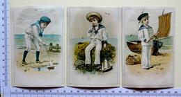 3 CHROMOS LITHOGRAPHIES...GARÇONS COSTUME DE MARIN...MER BATEAUX - Autres