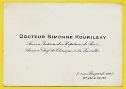 Carte De Visite DOCTEUR SIMONNE KOURILSKY Ancien Interne Des Hôpitaux De Paris & Chef De Clinique à La Faculté 75008 - Visitenkarten