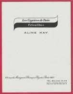 """Carte De Visite Commerciale ALINE KAY """"Les Caprices De Paris - Frivolités"""" 75008 Rue Marignan - Visitenkarten"""
