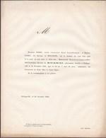 PHLIPPEVILLE Marie-Jeanne Baronne De MINCKWITZ 68 Ans 1848 Famille FOSSES Faire-part Mortuaire - Décès