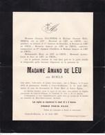 COURT-SAINT-ETIENNE épouse Amand De LEU Née ROELS Bruges 1815 Court 1897 Famille De LEU De CECIL - Décès