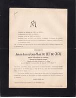 HERCK-SAINT-LAMBERT Armand-Auguste De LEU De CECIL Major D'artillerie 68 Ans 1922 - Décès