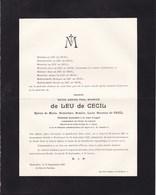GAND WATERMAEL  Marie Amand De LEU De CECIL Major D'artillerie 1851-1927 époux Marie Baronne De CECIL Cour D'appel - Décès