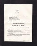 KORTENBOS CORTENBOSCH  Marie Baronne De CECIL 1860-1927 Veuve De LEU DE CECIL - Décès