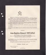 BRUXELLES IXELLES Jean-Baptiste FONTAINAS Banque Nationale 1852-1917 Commandeur Ordre Du LION Et Du SOLEIL PERSE - Décès