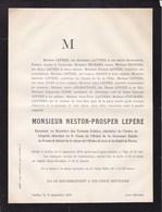 IXELLES NESTOR LEPERE 57 Ans 1879 Directeur  Ordre Du LION Et Du SOLEIL De PERSE Familles LAUTERS D'ELHOUGNE LOISE - Décès