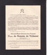 VICHENET VERNET-LES-BAINS Pyrénées Edouard Comte De ROMREE De VICHENET 1897-1938 BOSSIERES Famille De BEAUFFORT - Décès