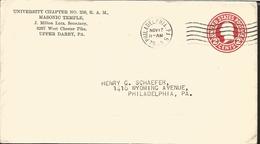 J) 1983 UNITED STATES, MASONIC GRAND LODGE, UNIVERSITY CHAPTER N°256 R&AM, MASONIC TEMPLE, WASHINGTON, POSTAL STATIONARY - United States