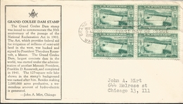 J) 1952 UNITED STATES, MASONIC GRAND LODGE, GRAND COULEE DAM STAMP, BLOCK OF 4, FDC - United States