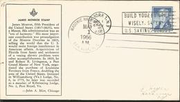 J) 1956 UNITED STATES, MASONIC GRAND LODGE, JAMES MONROE STAMPS, WITH SLOGAN CANCELLATION, FDC - United States