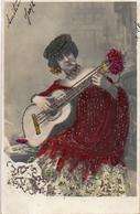 Artiste Femme 1900 - Attribué à Fornarina Guitare Cigarette, Espagne Couleur Et Paillettes - Attori