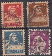 HELVETIA - SUISSE - SVIZZERA - 1924/1927 - Lotto Di 4 Valori Usati: Yvert 203a, 204a, 205a E 206a, Carta Goffrata. - Svizzera
