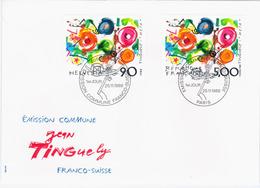Switzerland Swiss Schweiz Svizzera Helvetia 1988 FDC Franco-Suisse Jean Tinguely Meta, Basel - FDC