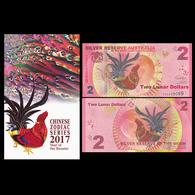 2017 SILVER RESERVE AUSTRALIA 2 LUNAR DOLLARS UNC NOTE > ROOSTER - Australië