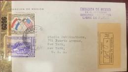 O) 1939 CIRCA - PARAGUAY, OXCART -EL CHACO $20, FLAG 50c, CENSORSHIP, EMBAJADA DE MEXICO EN EL PARAGUAY- LIBRE DE PORTE - Paraguay