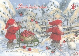 Postal Stationery - Birds - Bullfinches - Elves Bringing Apples - Hare - Save The Kids - Suomi Finland - Postage Paid - Finlande